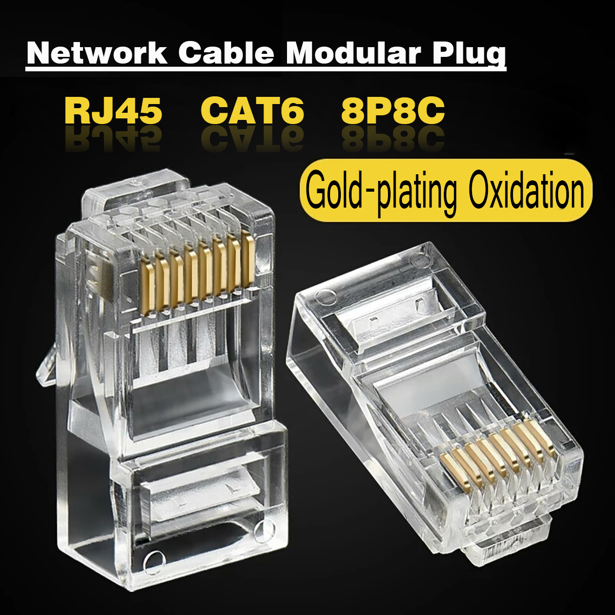 1000PCS Cat 6 8C8P Gold Plated RJ45 Ethernet Network Connector Adapter for Router TV Box