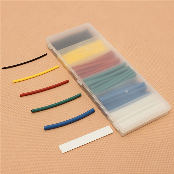 100Pcs 6 Sizes Mixed Color Polyolefin 2:1 Halogen-Free Heat Shrink Tubing Sleeving with Box