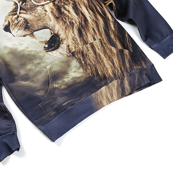 Mens Fashion 3D Animal Printing Pullover Casual Hoodies Winter Sport Hoodies