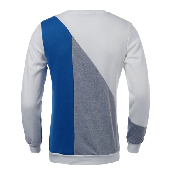 Mens Stitching Contrast Color Crew Neck Pullover Sweatshirt Casual Tops