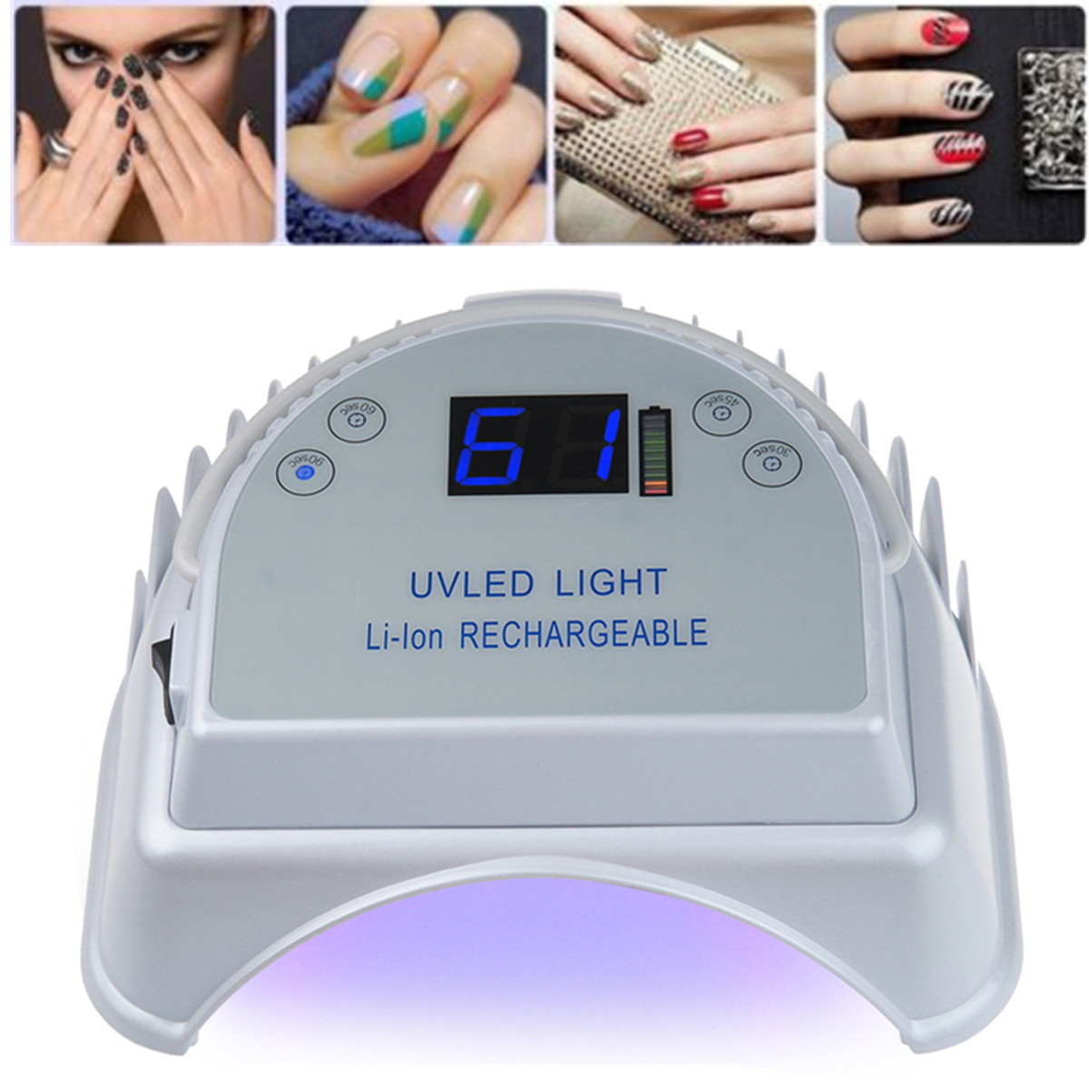 Rechargeable 64W UV LED Gel Nail Light Art Polish Dryer