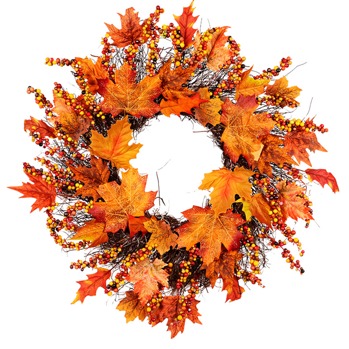 Rattan Maple Wreath Garland Leaves Berry Door Hanging Decor For Christmas Party Decorations