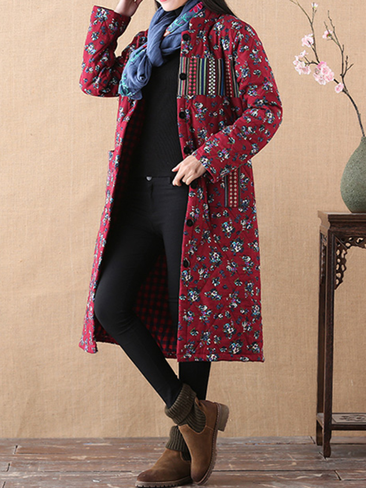 Folk Style Floral Print Stand Collar Thicken Long Sleeve Mid-long Coats