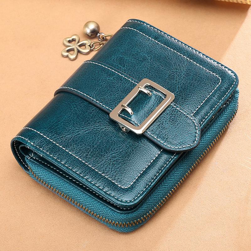 Genuine Leather Women Short Wallets