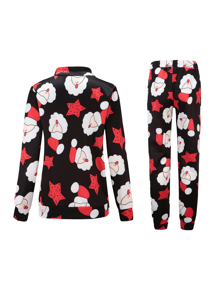 Women Long Sleeve Christmas Tree Snow Print Sets