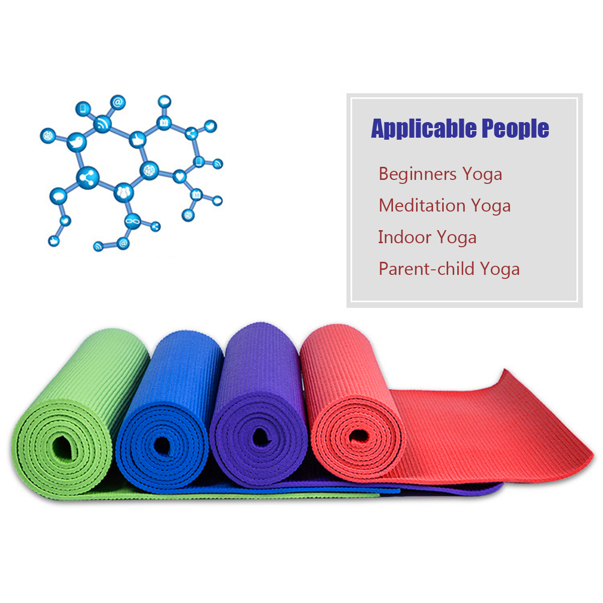5mm Thickness PVC Yoga Pilate Non Slip Mat Fitness Exercise Weight Loss Pad