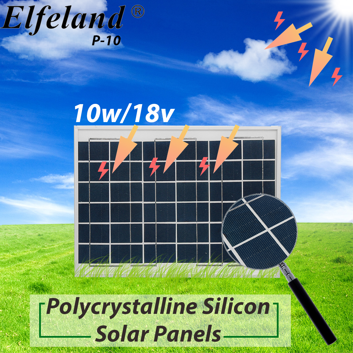 Silver/Black 10W 18V Polycrystalline Silicon Solar Panel With Junction Box For Car Batteries/RV/Boat