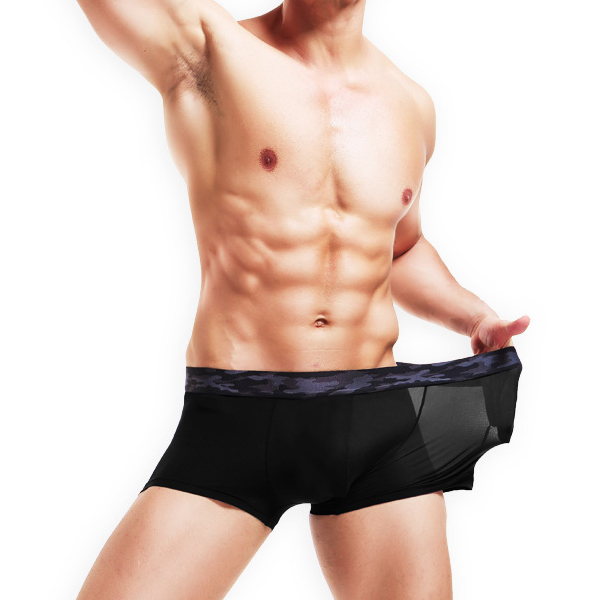Mens Ice Silk Seamless Boxers Translucent Casual Underwear