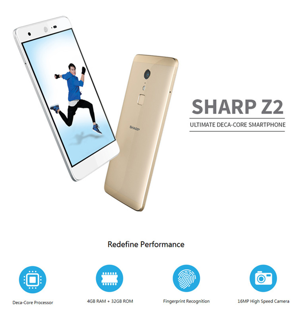 SHARP Z2 Global Version 5.5 Inch 4GB RAM 32GB ROM Helio X20 MTK6797 2.3GHz Deca Core 4G Smartphone