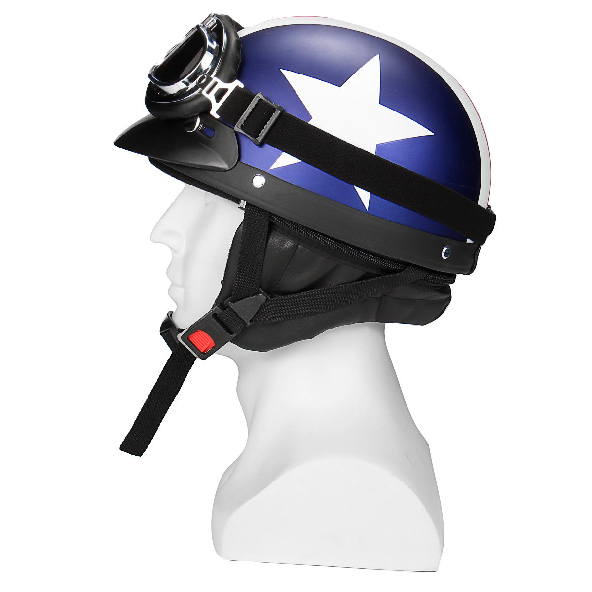 Retro White Star Motorcycle Half Face Helmet Biker Scooter With Sun Visor UV Goggles Cafe Racer