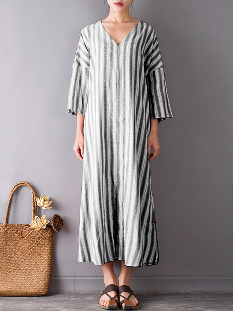 Women Stripe V-neck Front Split Mid-long Dresses