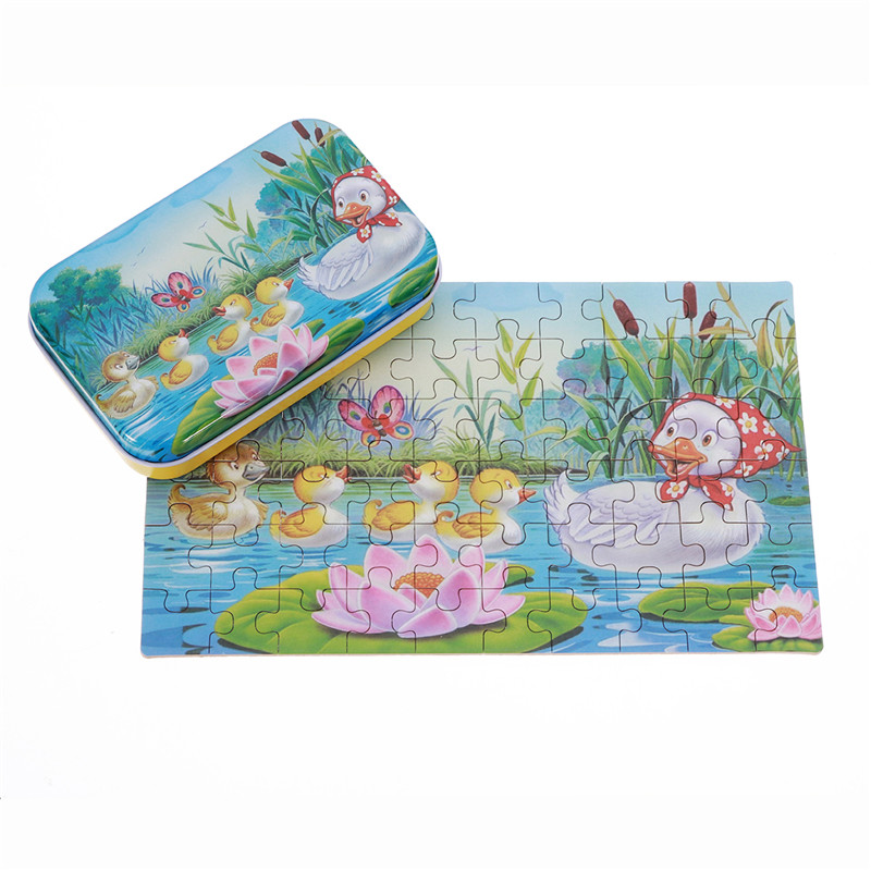 60pcs DIY Puzzle Duck Fairy Tale Cartoon 3D Jigsaw With Tin Box Kids Children Educational Gift Collection Toy