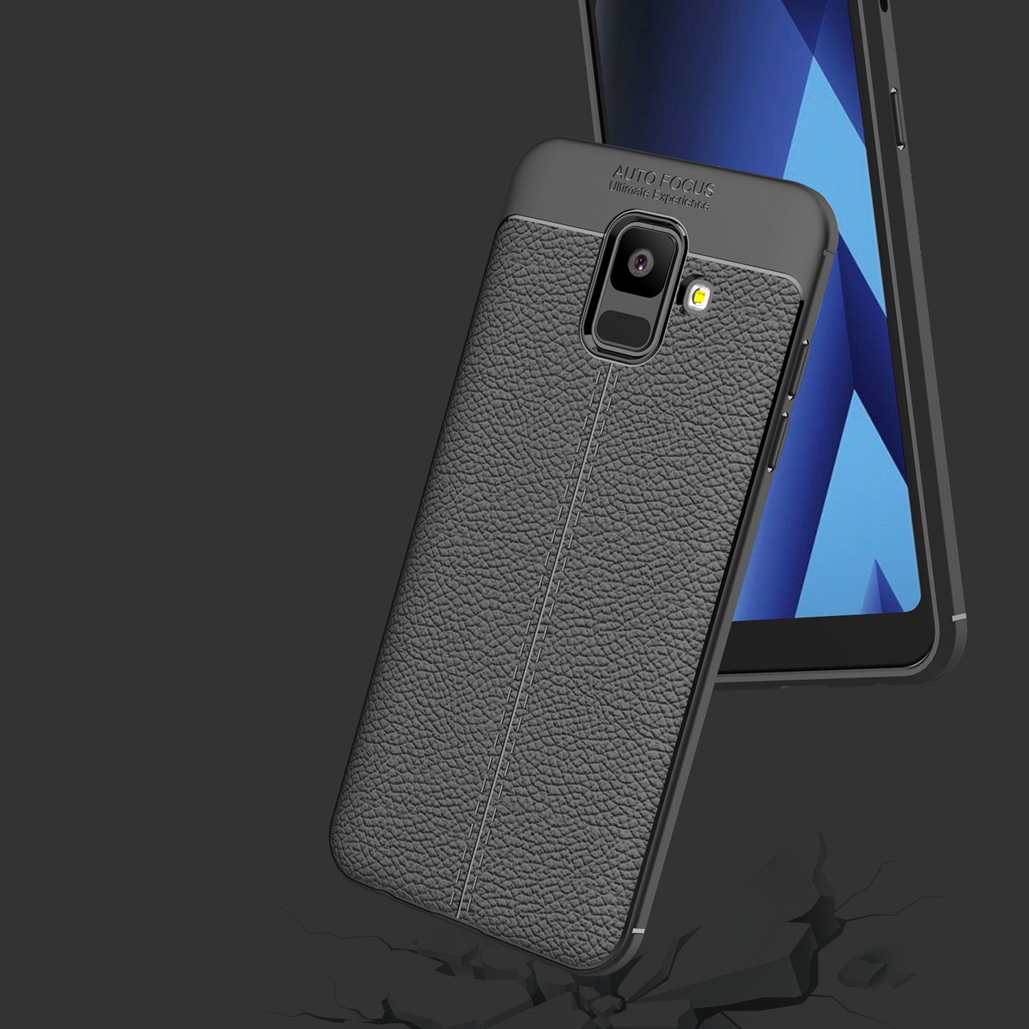 Bakeey Litchi Leather Soft TPU Protective Case for Samsung Galaxy A6 2018