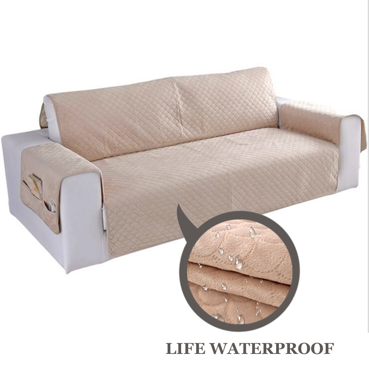 1/2/3 Seats Chair Covers Sofa Couch Short Plush Protector Cover Pads Pet Waterproof +Organizer