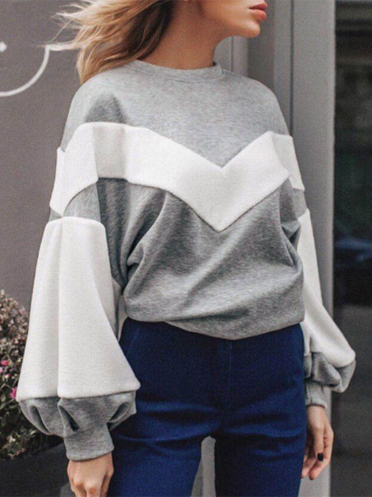 Women Long Sleeve Patchwork Fleece Winter Casual Sweatshirt