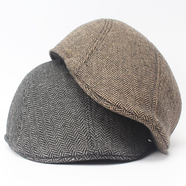 Winter Striped Cotton Beret Cap Adjustable Newsboy Cap