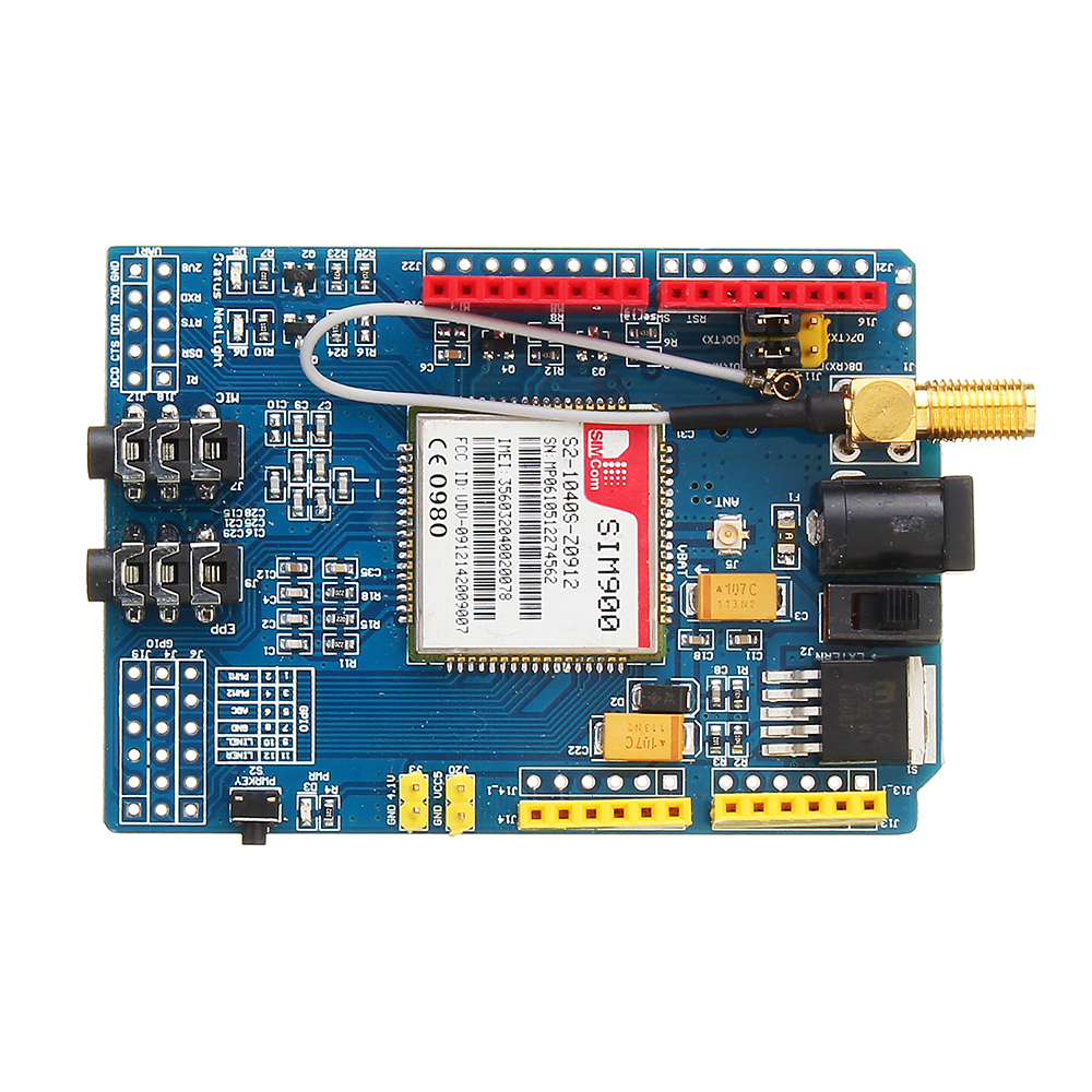 SIM900 Quad Band GSM GPRS Shield Development Board For Arduino