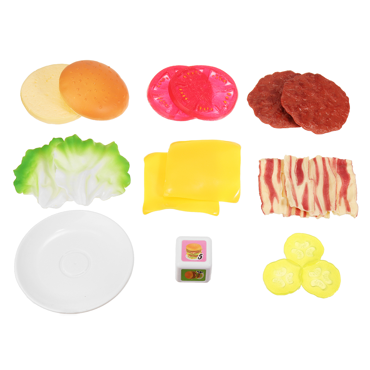 16 Piles Up Stacking Hamburger Plastic Pretend Play Baby Balance Stacking Game Toys