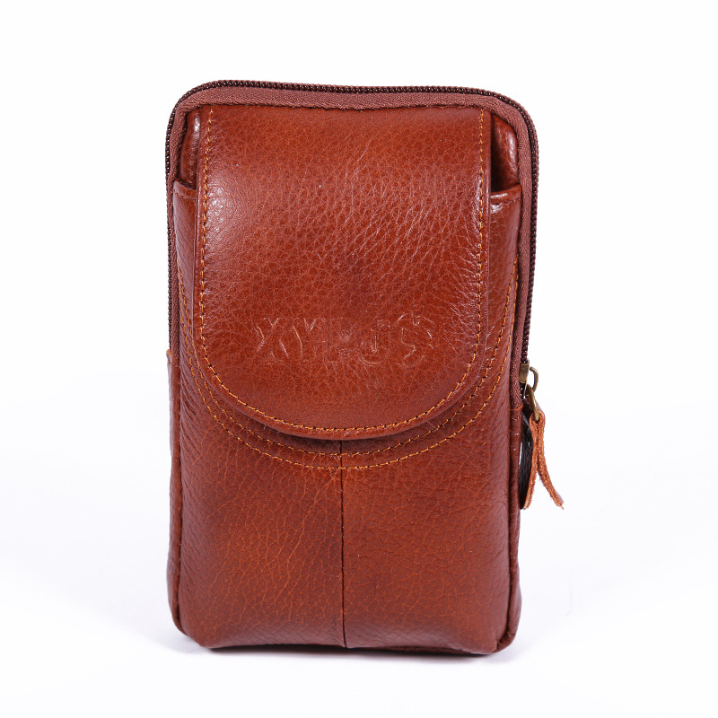 Outdoor Vertical Retro Leather Men Waist Pack Multifunction Zip Coin Purse Portable Phone Bag