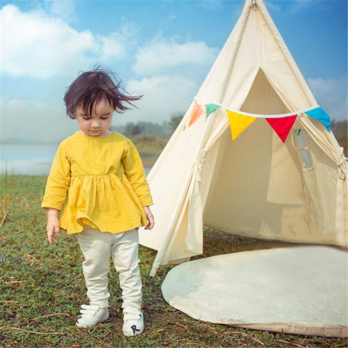 Portable White Teepee Tent Kids Playhouse Children Sleeping Dome Photograph Backdrop 51