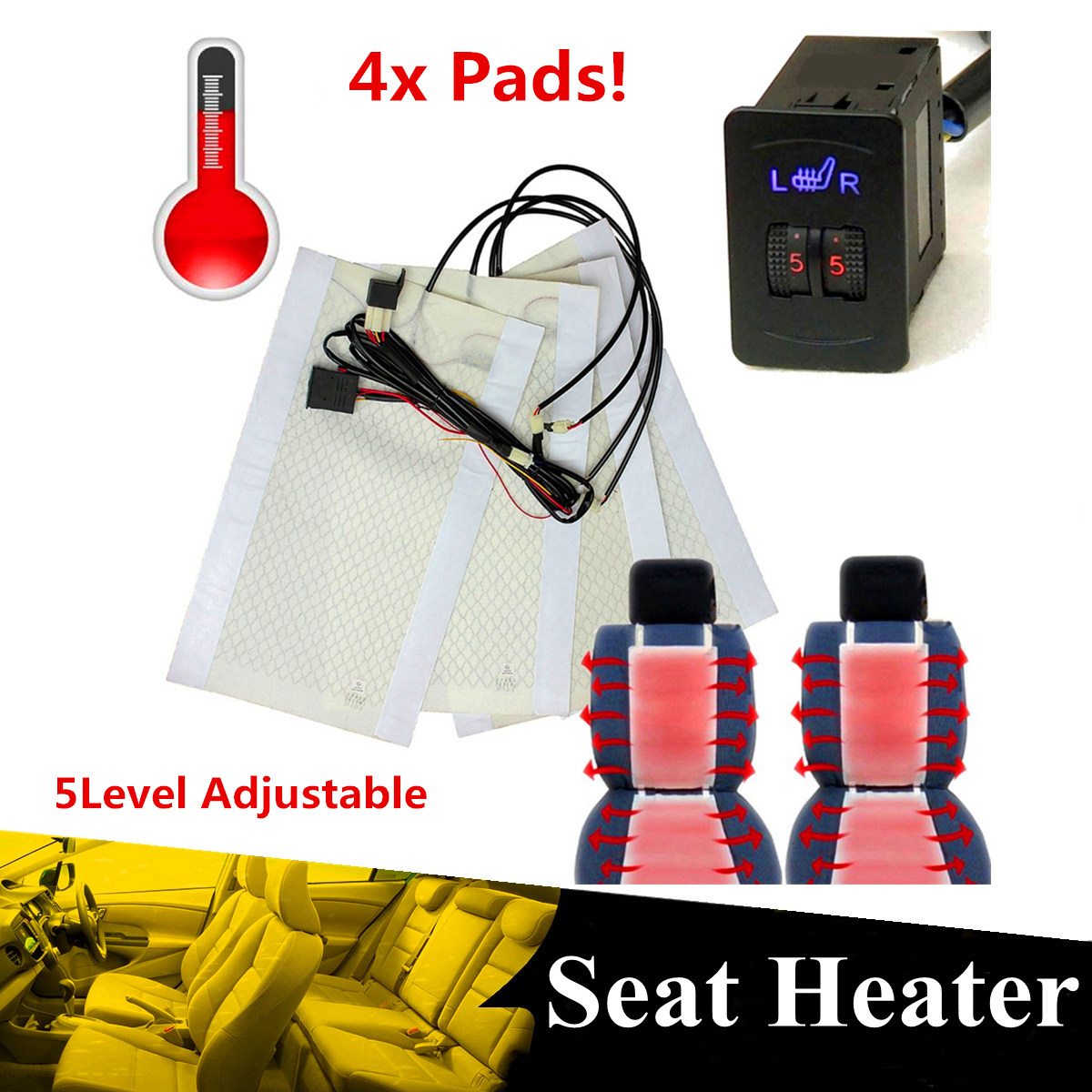 4pcs Carbon Fiber Car Heated Seat Heating Pads 2 Dial 5 Gears Adjustable Universal for 2 Seats