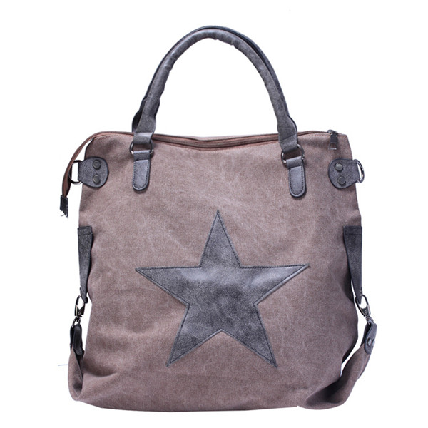 Women Star Canvas Tote Handbags Retro Shoulder Bags Capacity Shopping Crossbody Bags