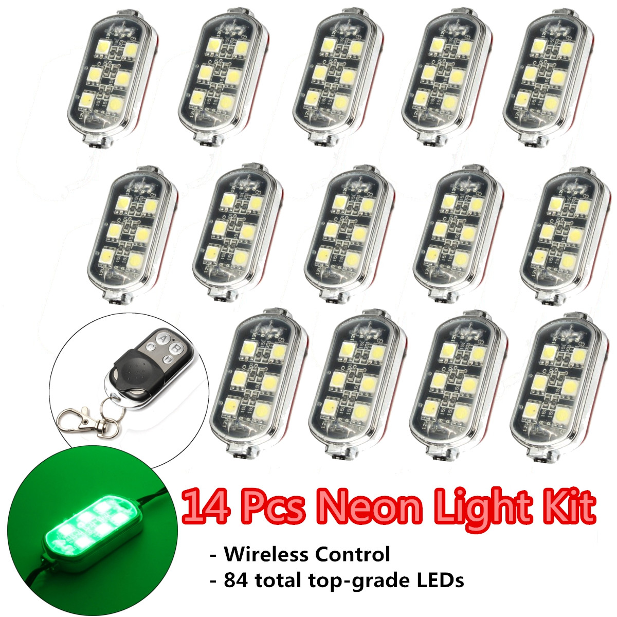 14 Pcs Wireless Control Remote 84LED Neon Accent Lights Green Motorcycle Bike