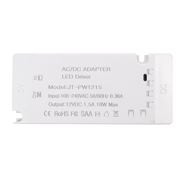 AC100-240V to DC12V 1.5A 18W LED Driver with EU Plug 2 PIN Cable Wire Connector for Strip Light