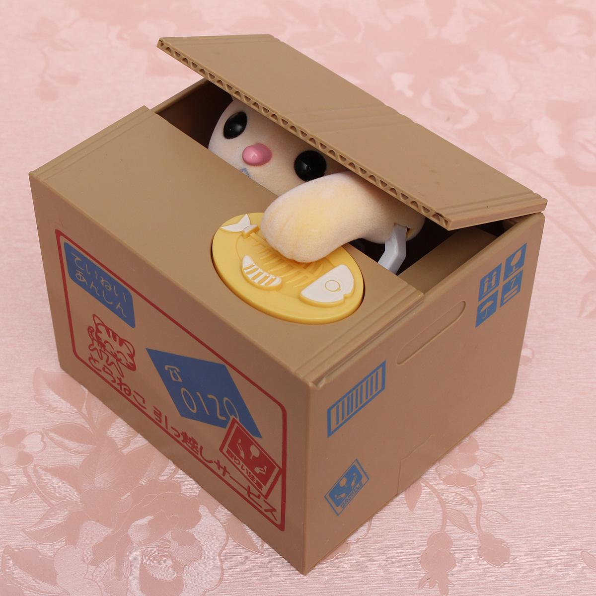 Creative Novelty Cat Steal Coins Piggy Bank Cent Saving Money Box Pot Case Gift