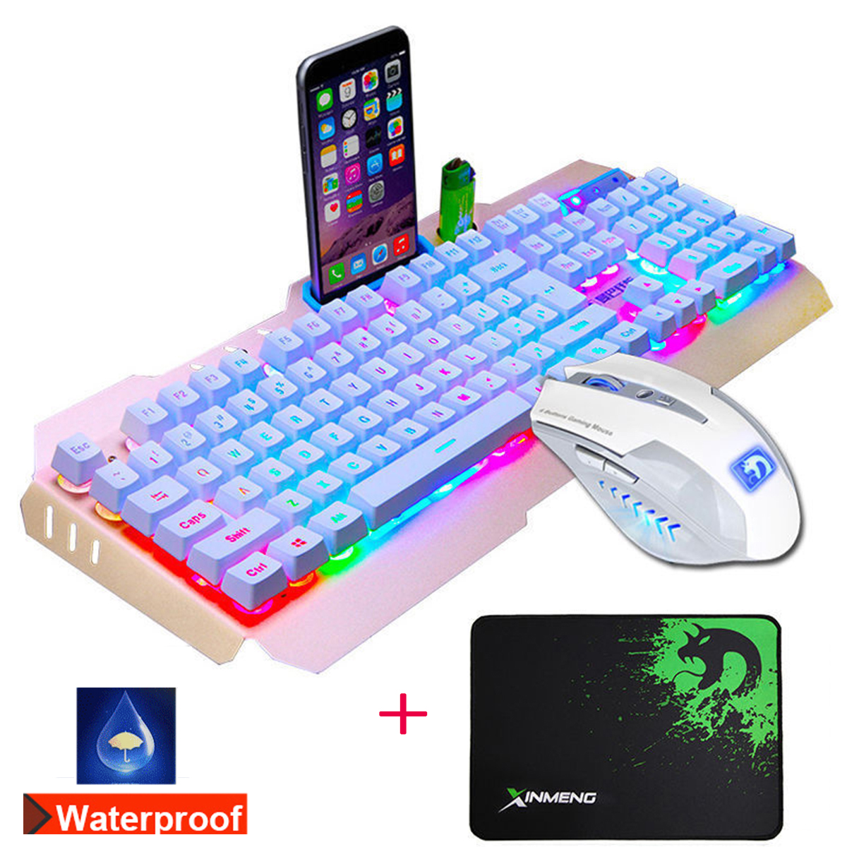 USB Wired Colorful Backlight Mechanical Handfeel Gaming Keyboard and Mouse Combo