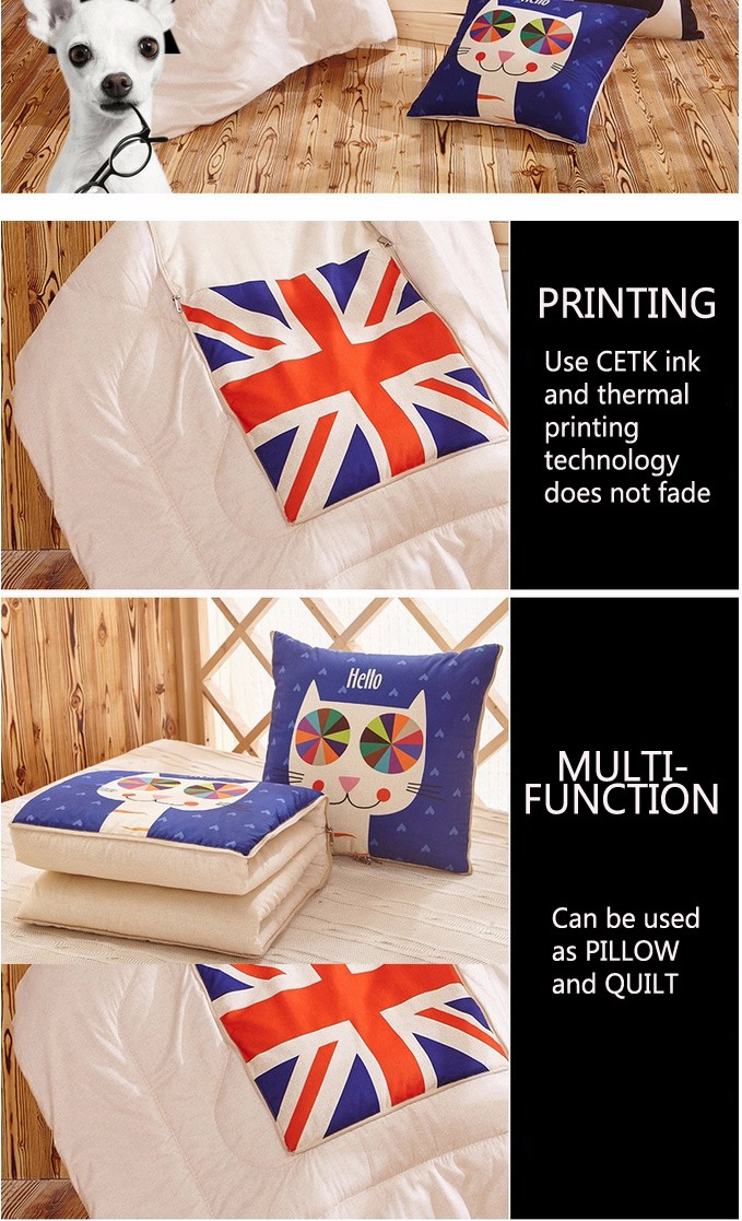 Honana WX-129 Multi-function Foldable Pillow Quilt Air Condition Cartoon Car Home Bolster Pillow Blanket