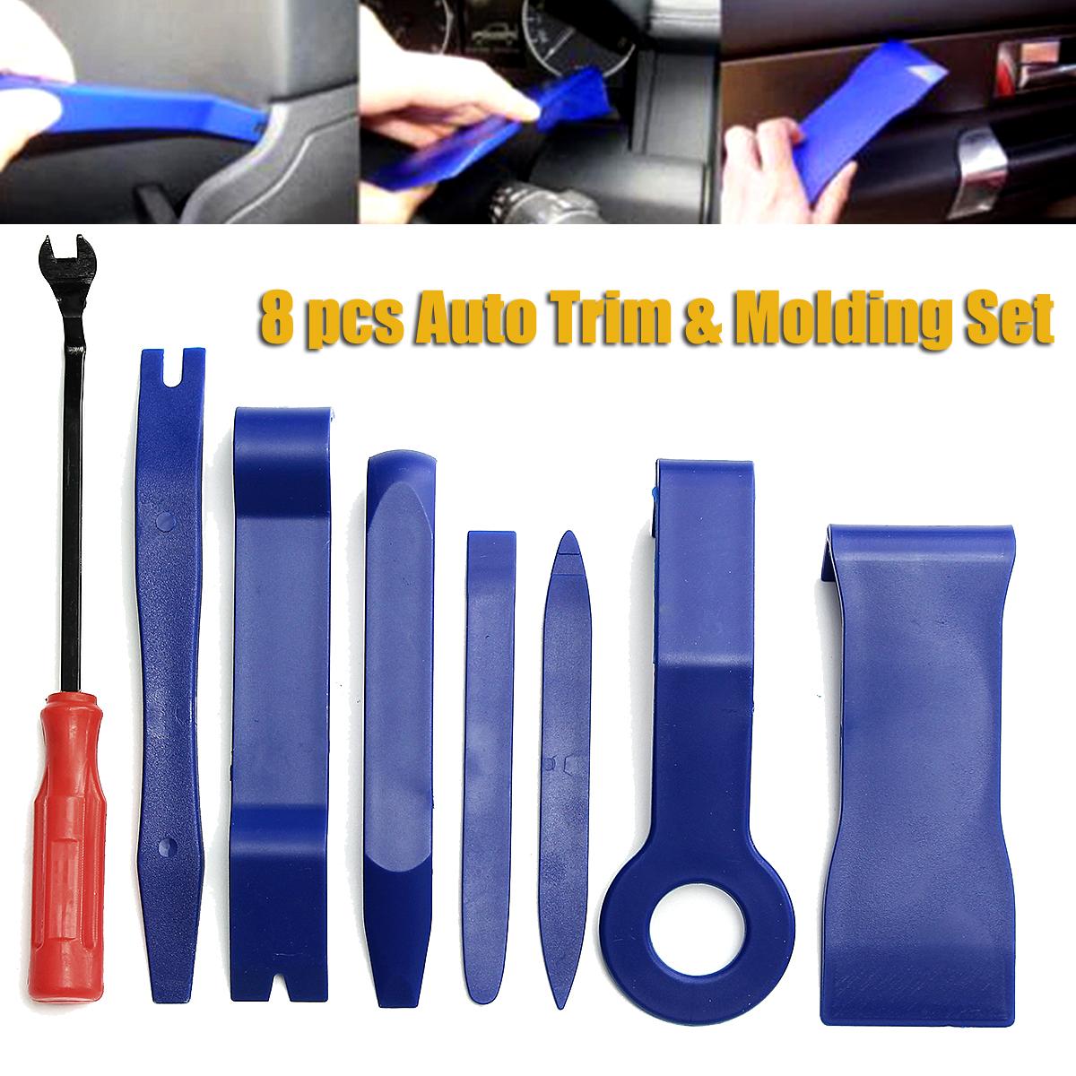 8 Pcs Auto Trim & Molding Set Nylon Car Interior/Exterior Handy Remover Pry Bars