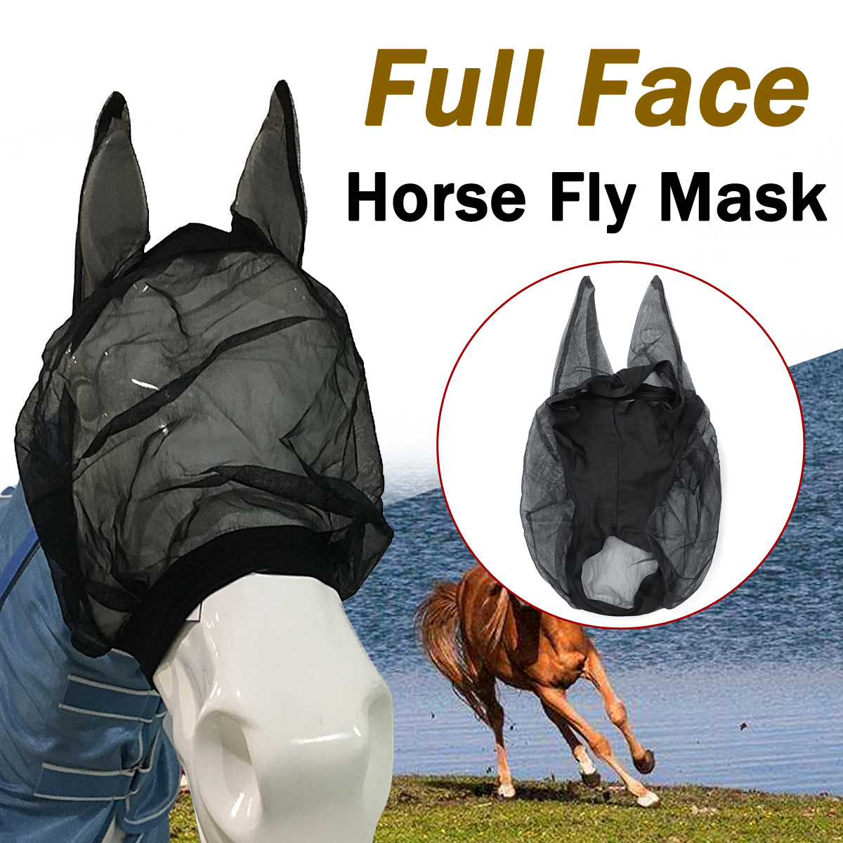 Horse Hood Full Face Shires Fine Mesh Cover Mask With Ears Anti-Flies Fly Summer