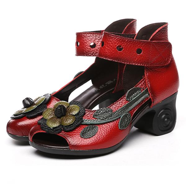 2207f637d65b28 socofy women sandals retro handmade shoes at Banggood