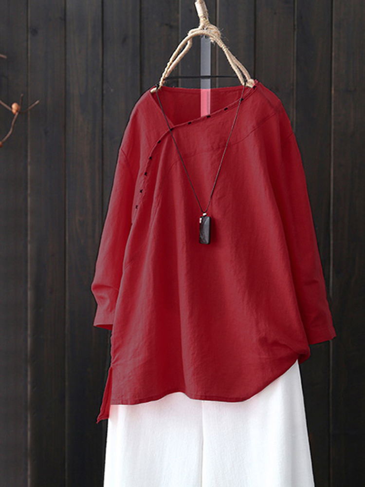 Casual Cotton Loose Solid Color V-Neck Long Sleeve Blouse