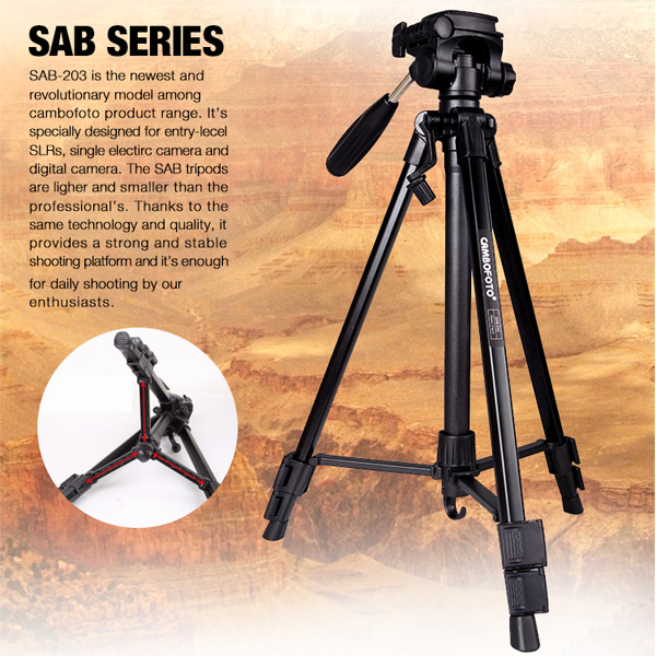 CamboFoto SAB203 Portable Aluminum Professional Extendable Camera Photography Tripod with Pan Head for Camera DSLR Camcorder