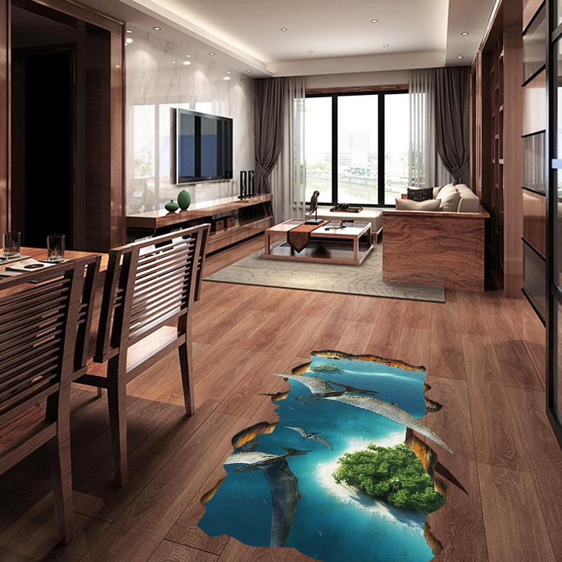 Miico Creative 3D Sea Island Dinosaurs PVC Removable Home Room Decorative Wall Door Decor Sticker