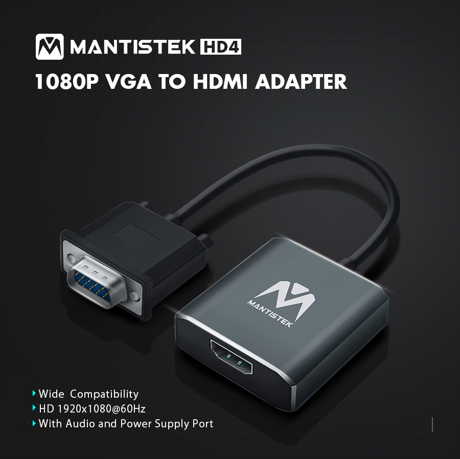 Mantistek® HD4 VGA to HDMI Adapter HD 1920x1080@60Hz Video Converter With Audio Power Port