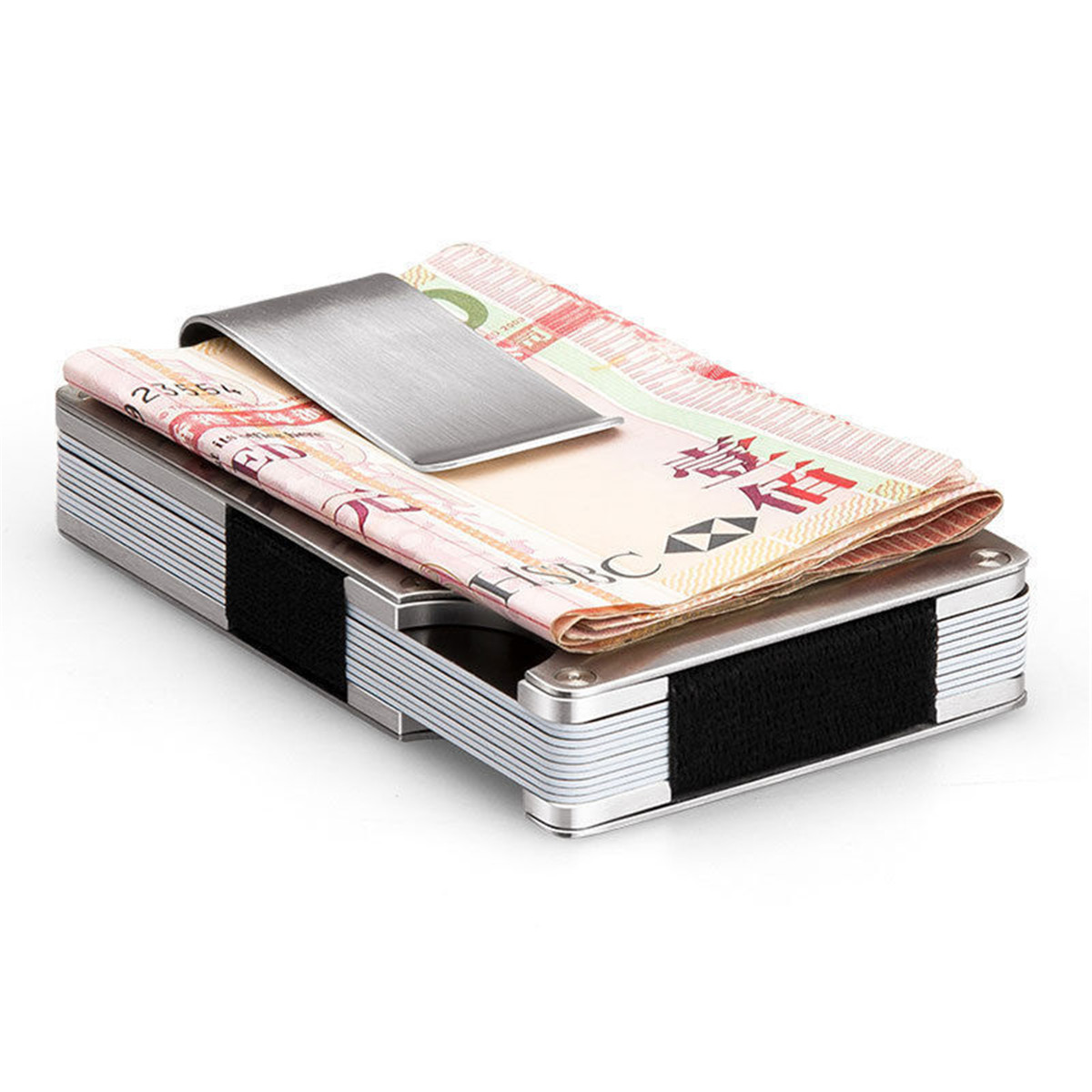 Men Anti-Magnetic Slim Money Clip Stainless Steel Elastic Band Credit Card Holder Wallet