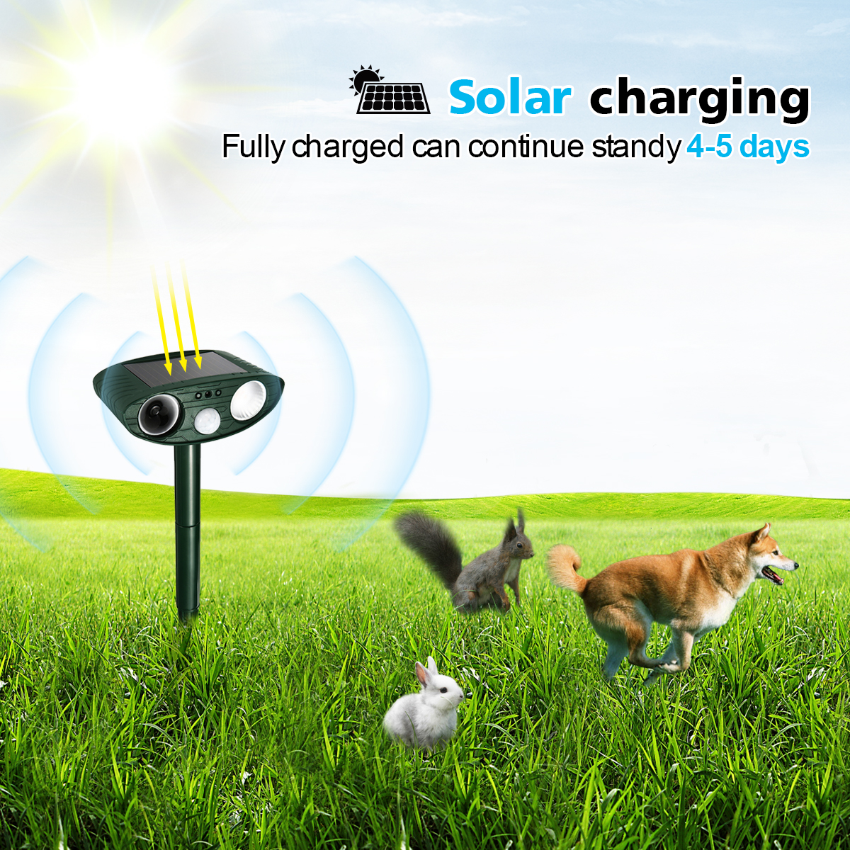 2Pcs Garden Outdoor Solar Powered Animal Repeller Motion Sensor Ultrasonic LED Flash Light Dog Cat Skunk Repellent