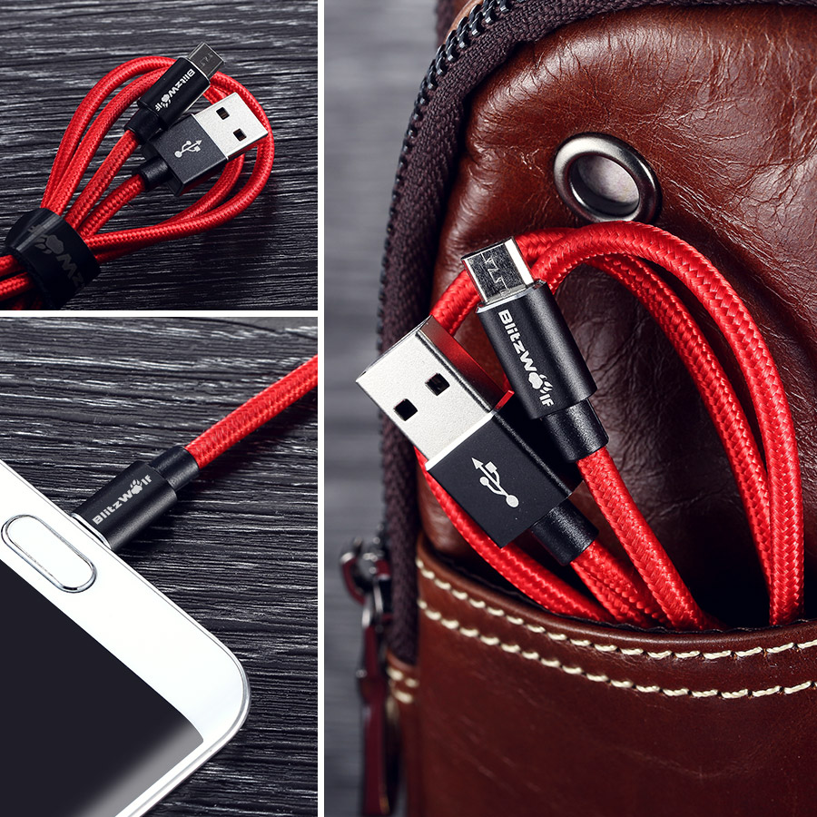 BlitzWolf® BW-MC1 2.4A Micro USB Braided Charging Data Cable 3.33ft/1m With Magic Tape Strap
