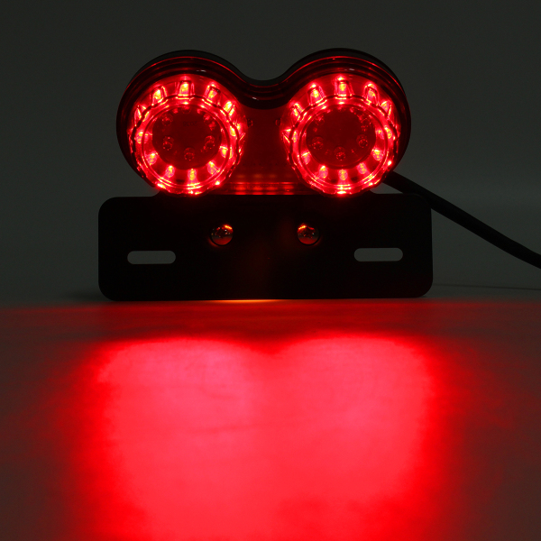 DC 12V Motorcycle Tail Lamp LED Twin Dual Turn Signal Brake License Plate Integrated Light