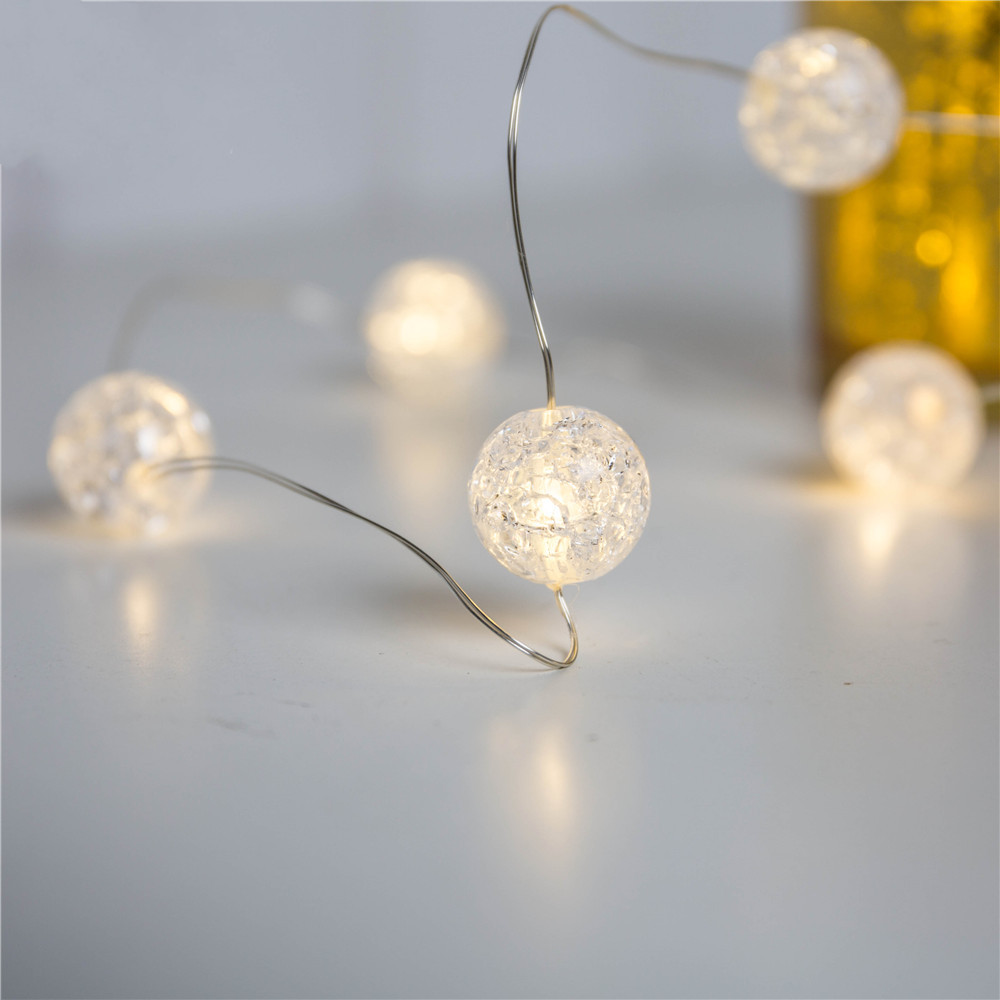 Battery Powered 3M Crack Ball 30 LED String Fairy Light for Christmas Party Wedding Decoration