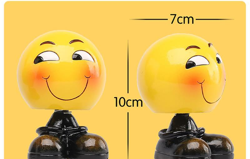 Creative Shaking Head Emoji Car Dashboard Decoration Ornament Car Home Office Dolls