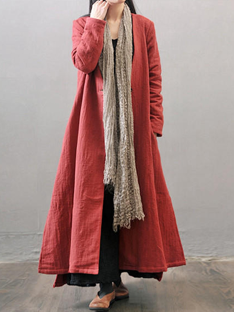 L-5XL Vintage Women Button Outwear Side Split Maxi Coat