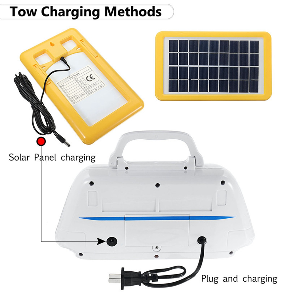 Portable Solar Generator System with Rechargeable Battery & 3W Solar Panel & 3pcs LED Light Bulbs