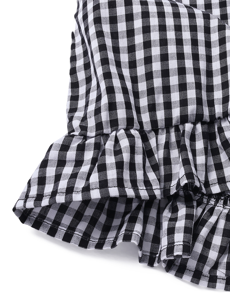 S-5XL Plaid Buttons Down Women Shirt Dress