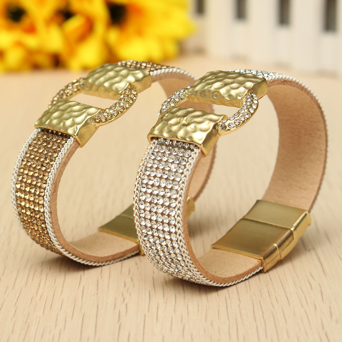 Sparkling Full Rhinestone Wide Belt Buckle Magnetic Leather Bracelets