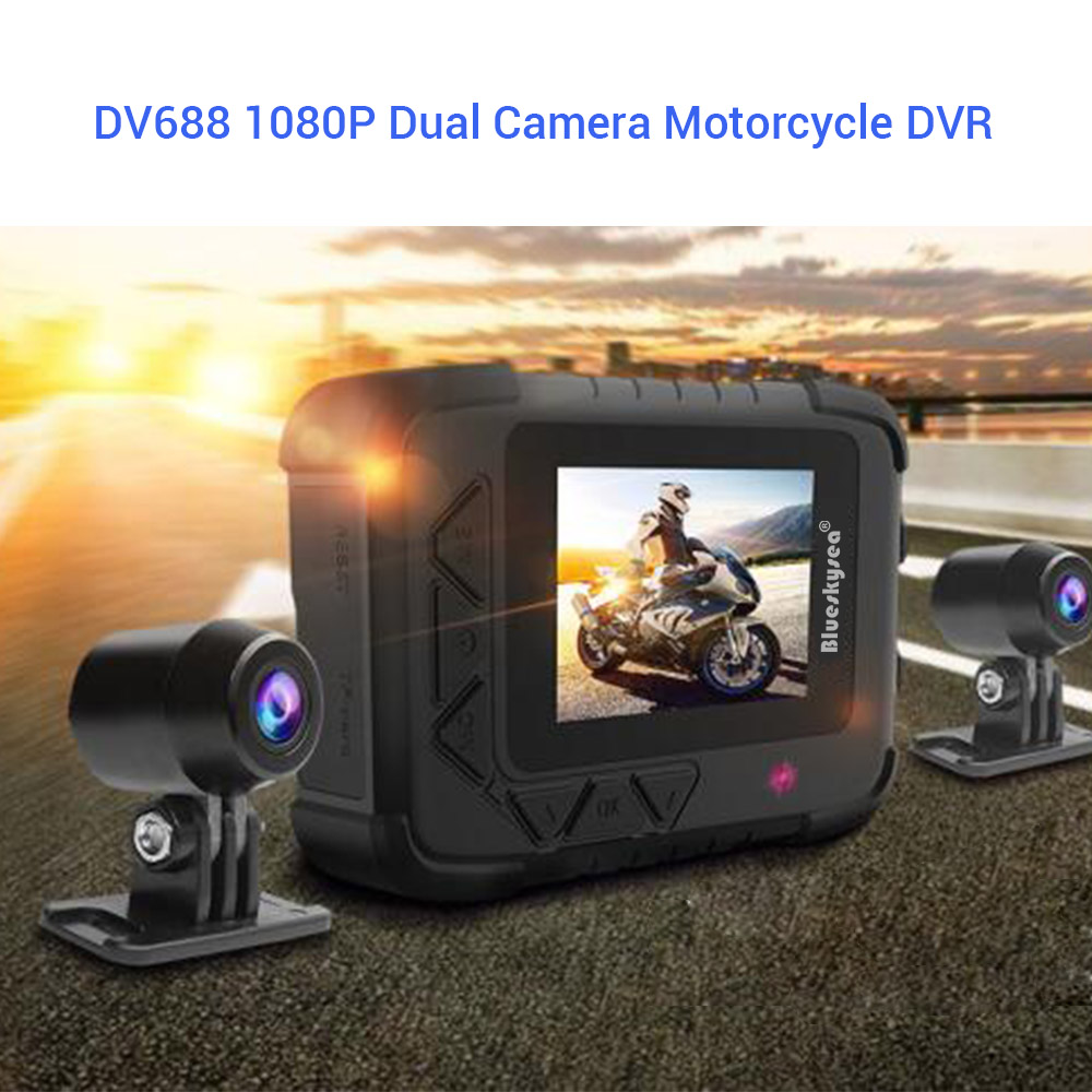 Blueskysea Dual 1080P Motorcycle DVR Action Camera Recorder Night Vision DV688 Waterproof