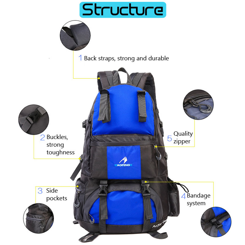 50L Waterproof Nylon Outdoor Travel Mountaineering Backpack Camping Hiking Bag